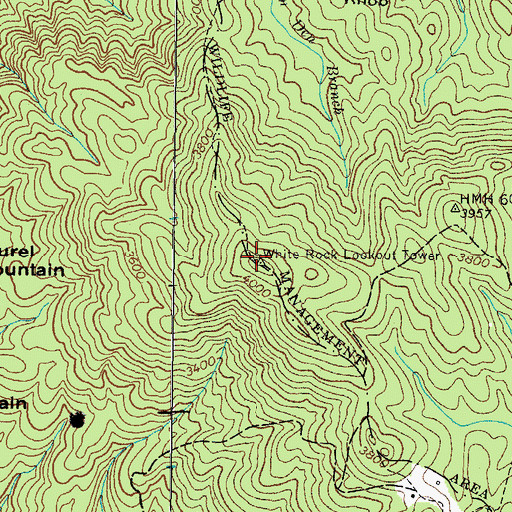 Topographic Map of White Rock Lookout Tower, TN