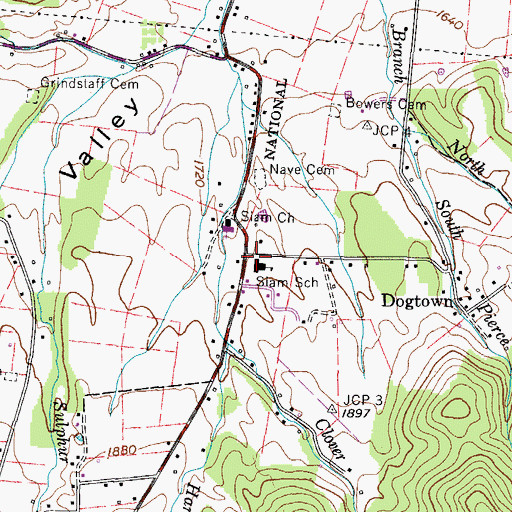 Topographic Map of Siam Middle School, TN