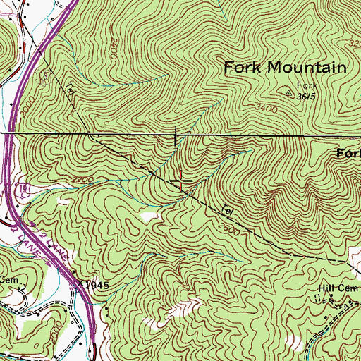 Topographic Map of Tiger Valley Division (historical), TN