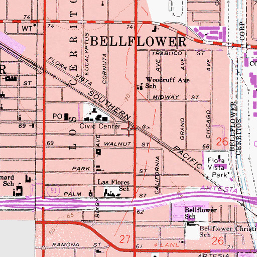 Topographic Map of Bellflower, CA