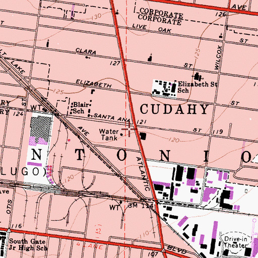 Topographic Map of Cudahy, CA