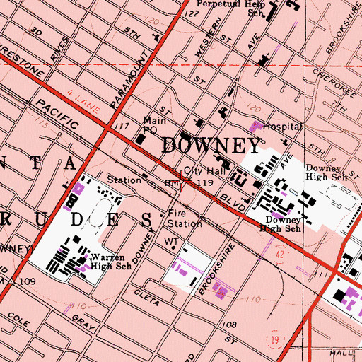 Topographic Map of Downey, CA