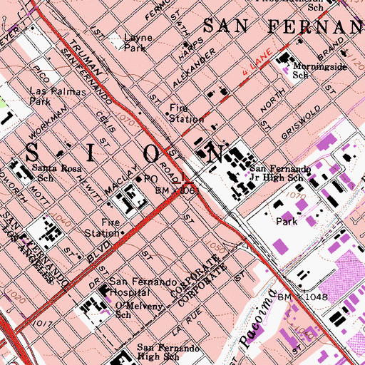 Topographic Map of San Fernando, CA