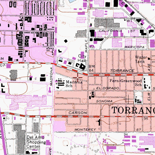 Topographic Map of Torrance, CA