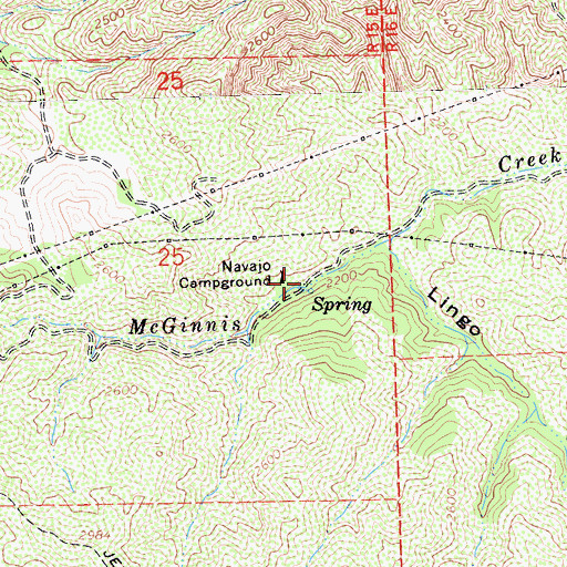 Topographic Map of Navajo Campground, CA