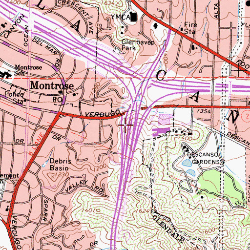 Topographic Map of Verdugo Hills Hospital Heliport, CA