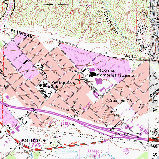 Topographic Map of Lake View Medical Center Heliport, CA