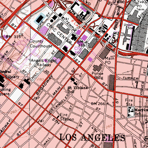 Topographic Map of Hotel New Otani Los Angeles Heliport, CA