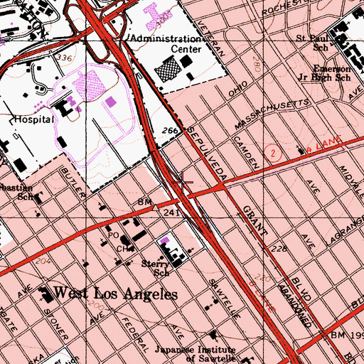 Topographic Map of Westwood Gateway Heliport, CA