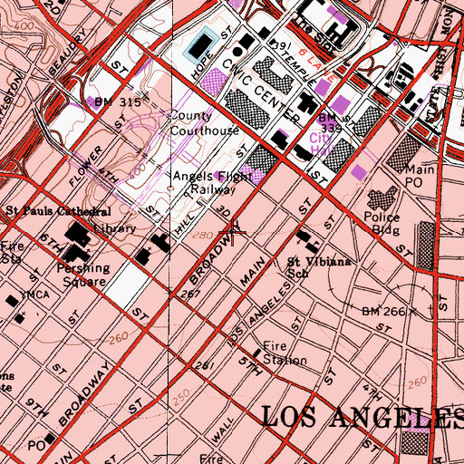 Topographic Map of Los Angeles Times-Los Angeles Heliport, CA