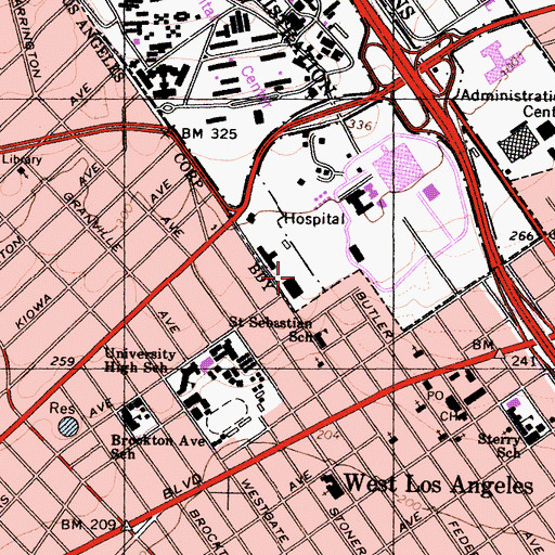 Topographic Map of Veterans Administration Medical Center West Los Angeles Heliport, CA
