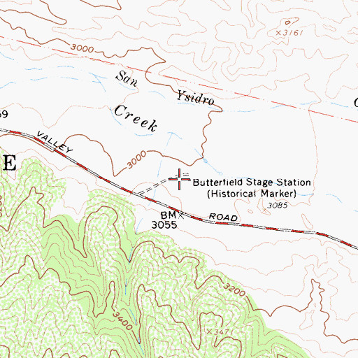 Topographic Map of Butterfield Stage Station, CA