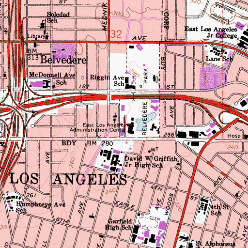 Topographic Map of East Los Angeles Administration Center, CA