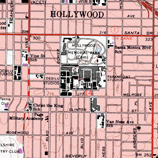 Topographic Map of Paramount Studios, CA