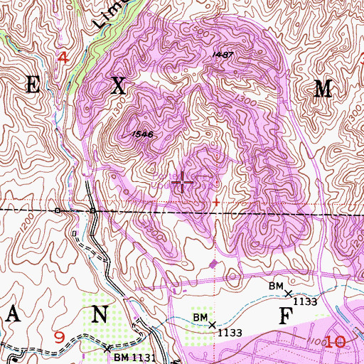 Topographic Map of Porter Valley Country Club, CA