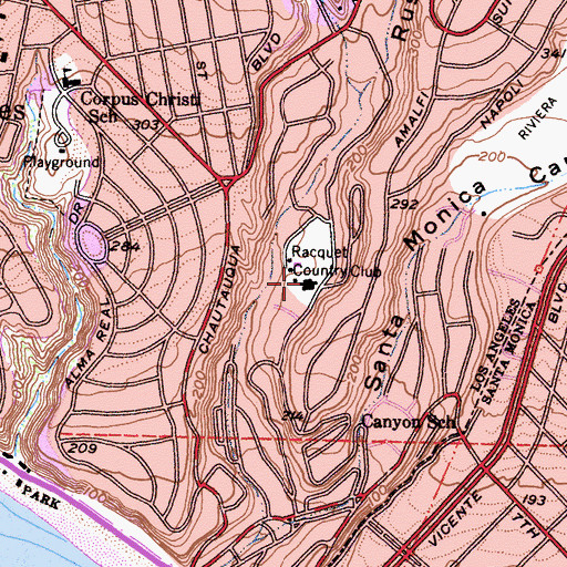Topographic Map of Racquet Country Club, CA