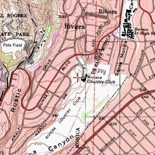 Topographic Map of Riviera Country Club, CA