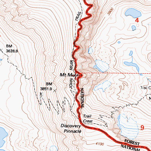 Topographic Map of Mount Muir, CA