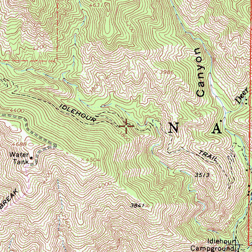 Topographic Map of Idlehour Trail, CA