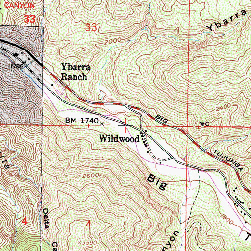 Topographic Map of Wildwood Picnic Area, CA
