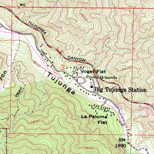 Topographic Map of Vogel Flats Campground, CA