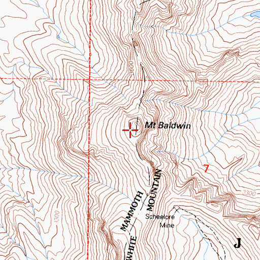 Topographic Map of Mount Baldwin, CA