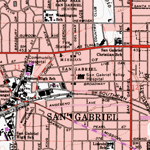 Topographic Map of San Gabriel Valley Hospital, CA