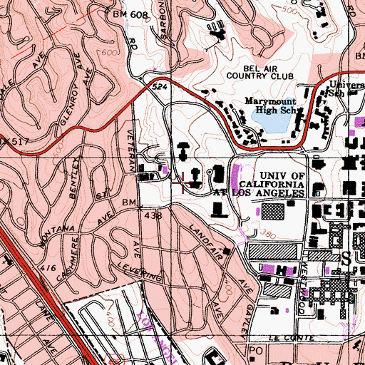 Topographic Map of Rieber Hall, CA