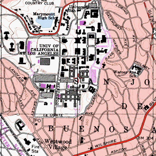 Topographic Map of Young Hall, CA