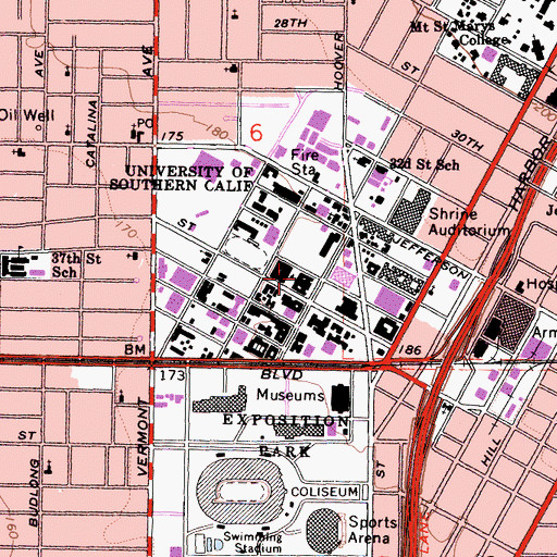Topographic Map of Bovard Administration Building, CA