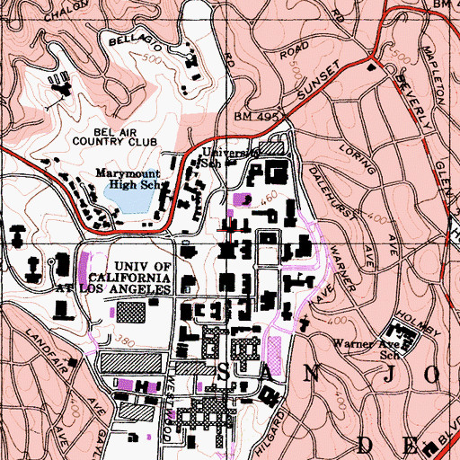 Topographic Map of Campbell Hall, CA