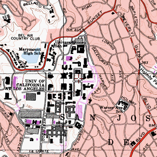 Topographic Map of Dodd Hall, CA