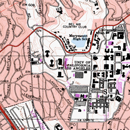 Topographic Map of Drake Stadium, CA
