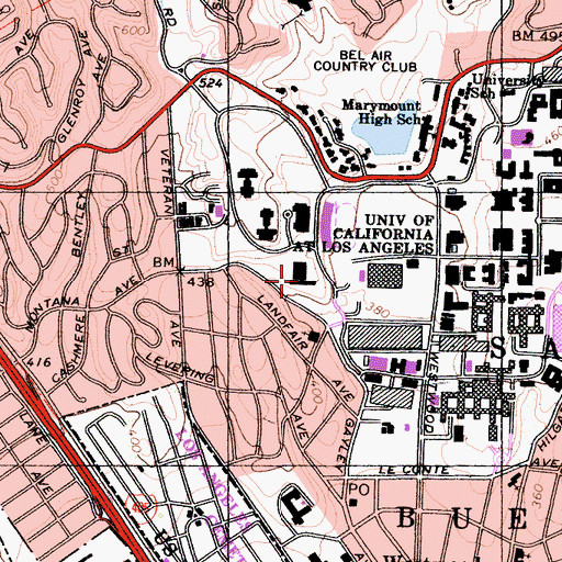 Topographic Map of Dykstra Hall, CA