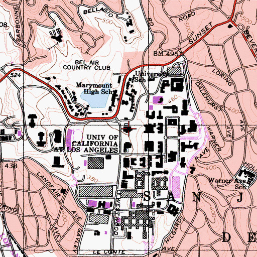 Topographic Map of Fowler Museum, CA