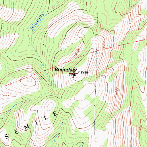 Topographic Map of Boundary Hill, CA