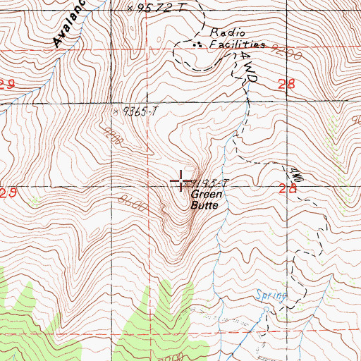 Topographic Map of Green Butte, CA
