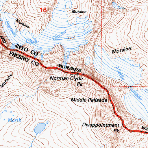Topographic Map of Norman Clyde Peak, CA