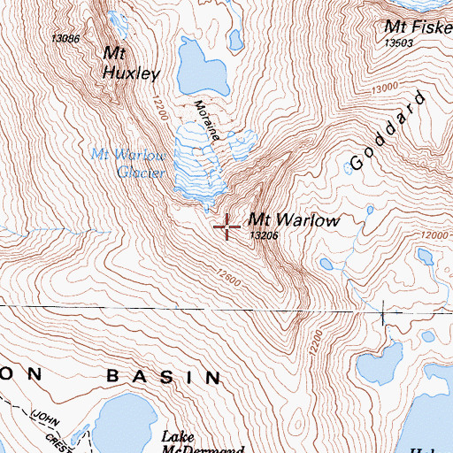 Topographic Map of Mount Warlow, CA