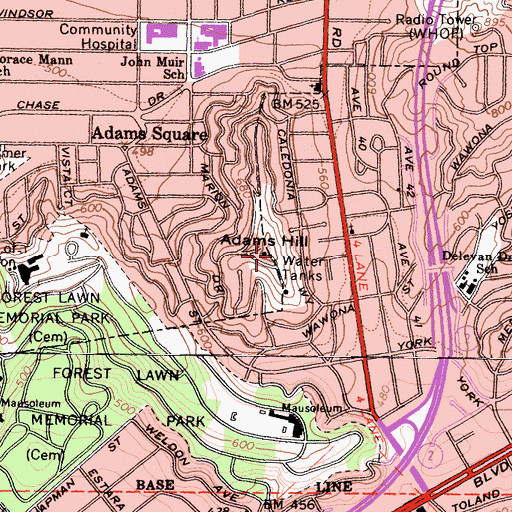 Topographic Map of Adams Hill, CA