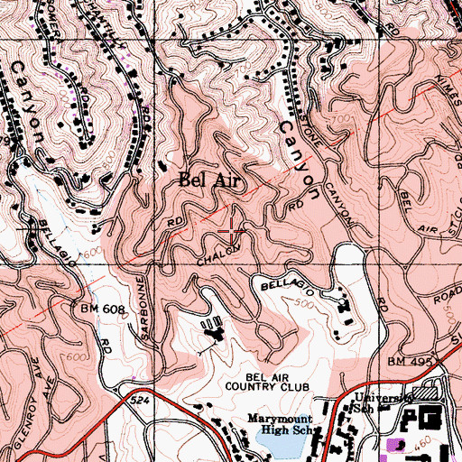 Topographic Map of Bel Air, CA