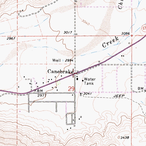 Topographic Map of Canebrake, CA
