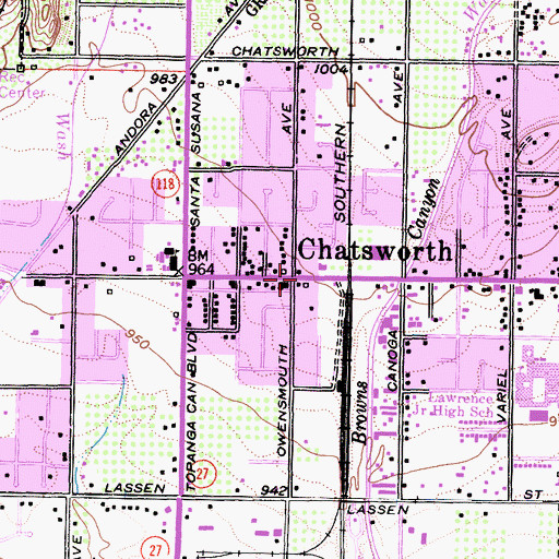 Topographic Map of Chatsworth, CA