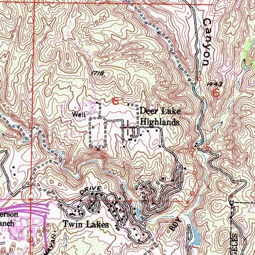 Topographic Map of Deer Lake Highlands, CA