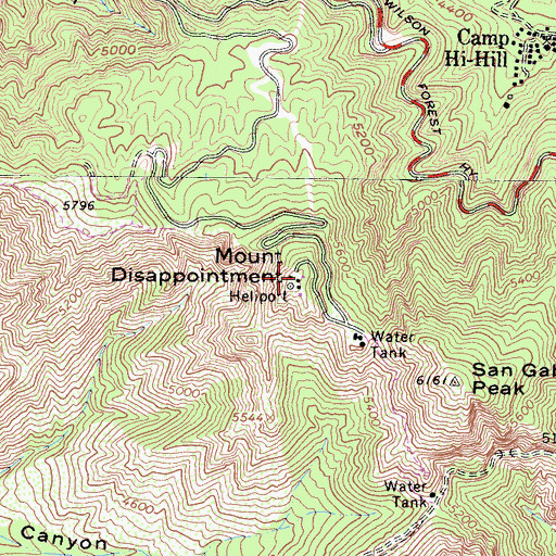 Topographic Map of Mount Disappointment, CA