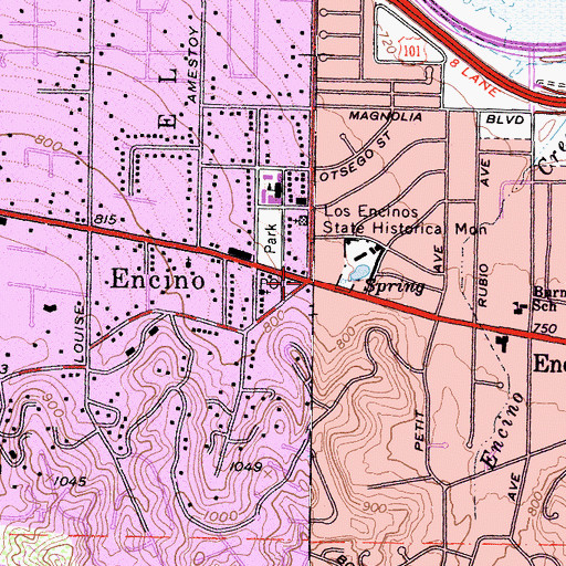 Topographic Map of Encino, CA