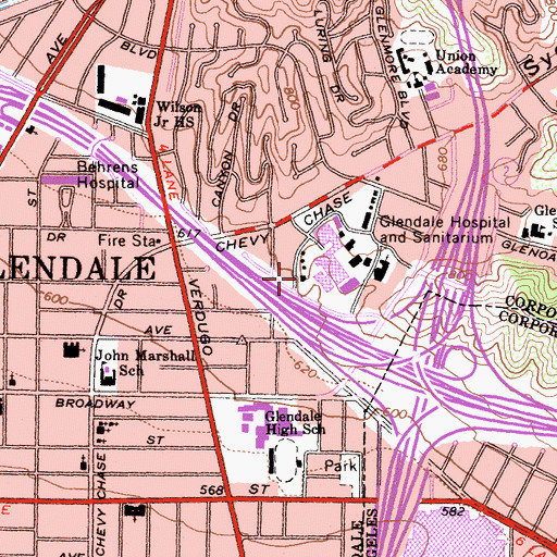 Topographic Map of Glendale Adventist Medical Center, CA