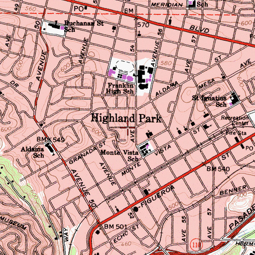 Topographic Map of Highland Park, CA