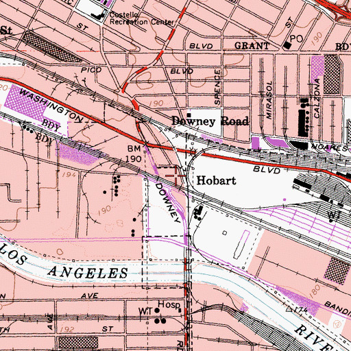 Topographic Map of Hobart, CA