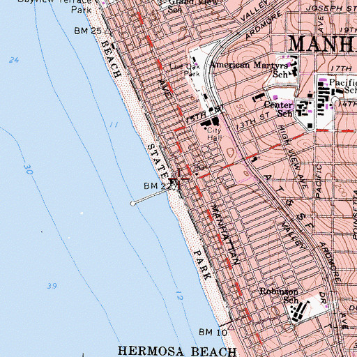 Topographic Map of Manhattan Beach, CA